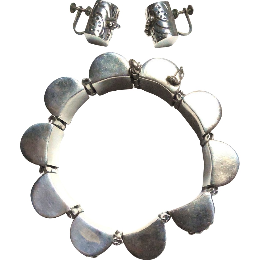 Chunky Sterling Silver Beaded Barrel Set - Bracelet Earrings Mexico