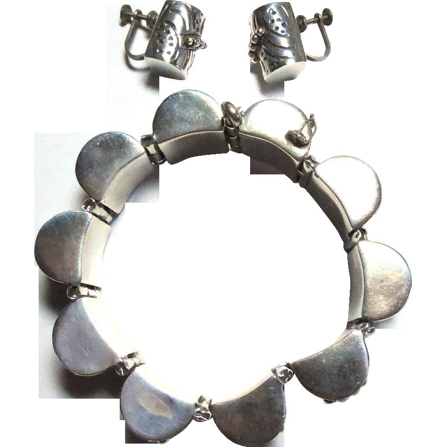 Chunky Sterling Silver Beaded Barrel Set - Bracelet Earrings Mexico