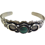 Native American Navajo Bracelet Silver And Turquoise Signed Sanford