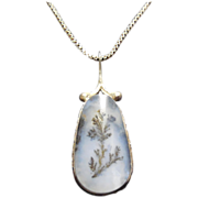 Lovely Art Deco Picture Agate Pendant On Sterling Chain