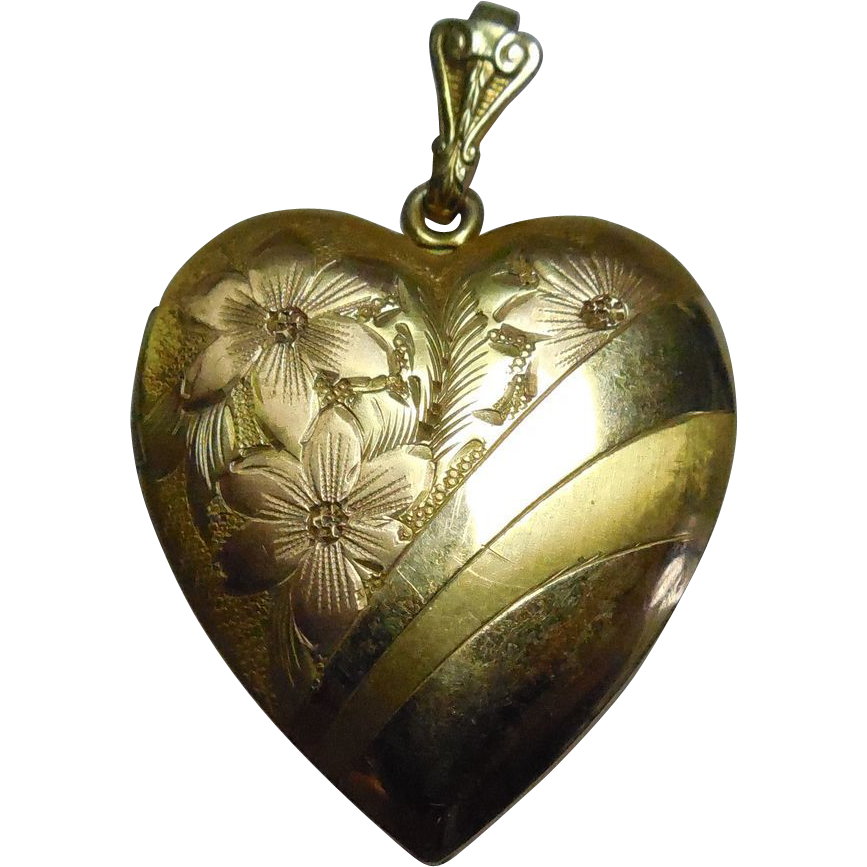 Large Two Tone Gold Filled Heart Shaped Locket Signed WH