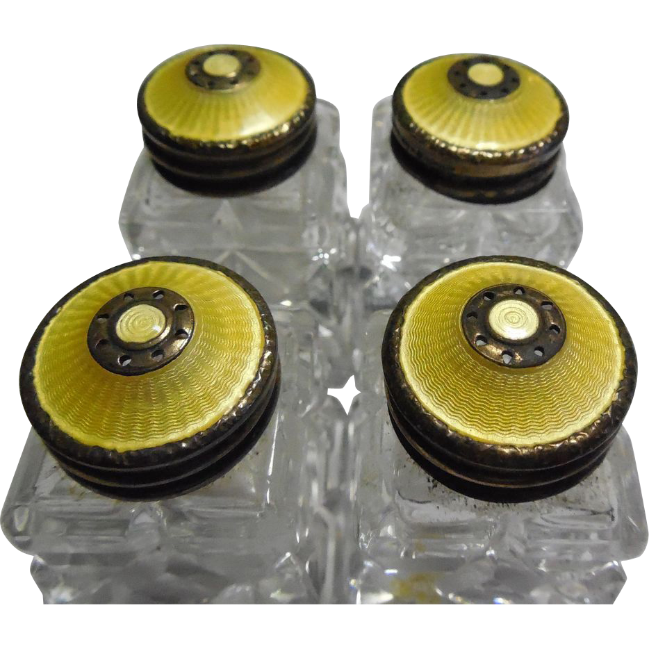 Set Of 4 Norway Golden Yellow Guilloche Enamel Sterling Goldwashed Salt & Pepper Shakers