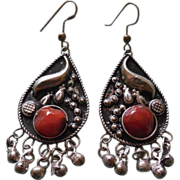 Unusual Vintage Boho Earrings With Carnelian Stone