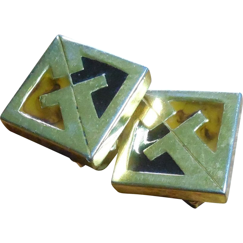 1977 Givenchy Logo Earrings - Golden With  Black and Yellow Enamel