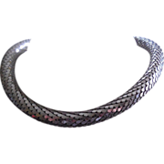 Gorgeous Whiting & Davis Silvery Snake Scale Mesh Necklace