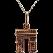 Arch de Triomphe Paris France Necklace 18K & 14K