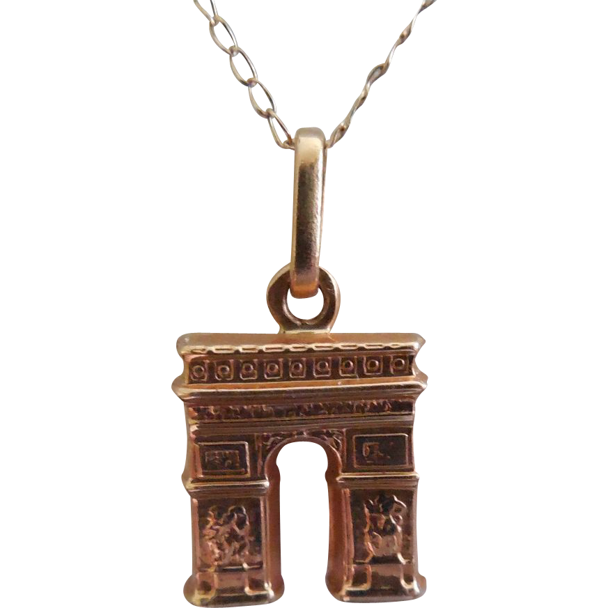 Arch de Triomphe Paris France Necklace 18K & 14K