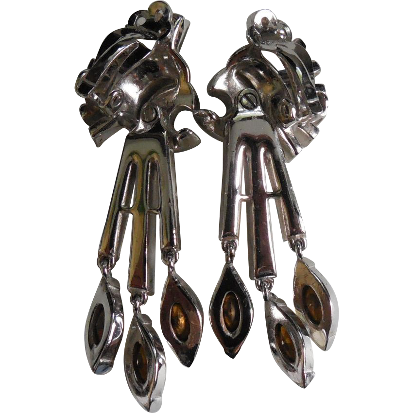 Gorgeous Rhinestone Vintage Crown Trifari Swinging Dangle Earrings Rhodium Plated Long