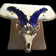 Vintage Goat Brooch With Blue Horns - Red Eyes Golden Metal