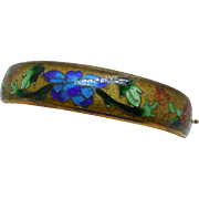 Antique Cloisonne Hinged Bracelet Old Glass Enamel Lotus Blossom and Flowers