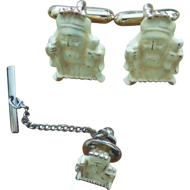 Rare Vintage Japanese Fukurokuju Enamel Cuff Links Cufflinks Tie Pin 1 of 7 Gods