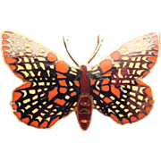 Enamel Butterfly Brooch - Signed Wm Spear 1990