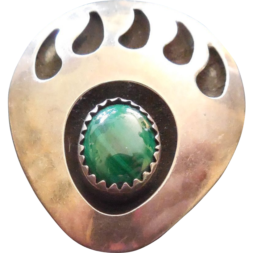 Native American Bear Paw Pendant With Malachite Stone