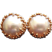 14K Gold Large, Bold Mabe Pearl Earrings - 17.1 Grams