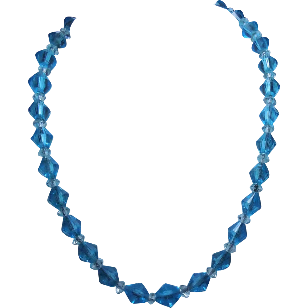 Lovely Blue and Clear Facetted Glass Necklace On Chain