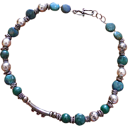 Malachite, Blue Green Stone and Silvery Bead Necklace