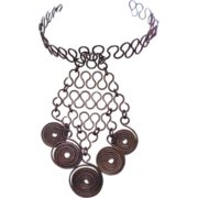 Unusual Modernist Bib Necklace - Wire Loops and Circles