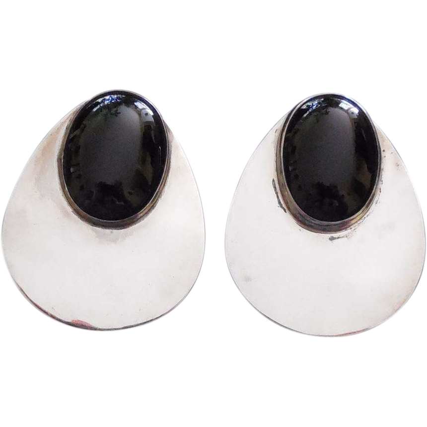Huge Silver Earrings With Black Stone