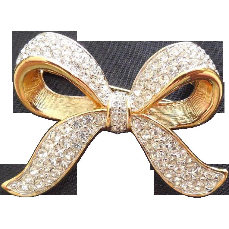 Signed Swarovski Crystal Bow Brooch - Swan Logo