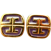 1980 Signed Givenchy Logo G Earrings - Purple Enamel