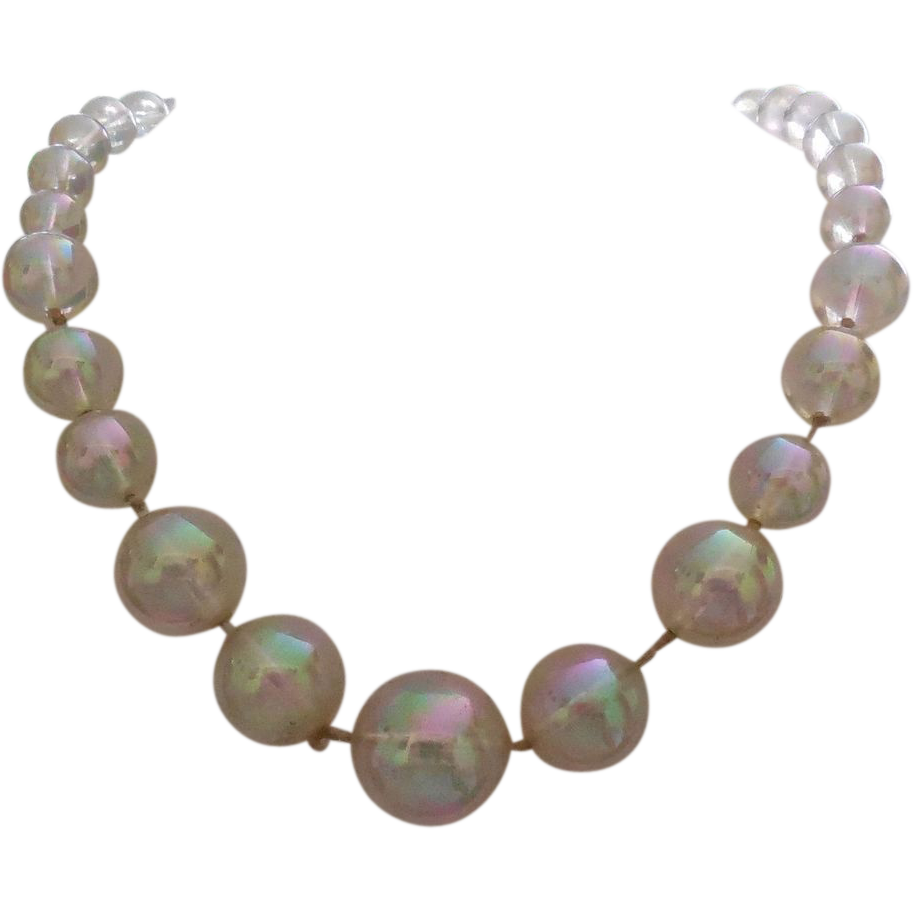 Iridescent Soap Bubble Necklace With Sterling Silver Clasp