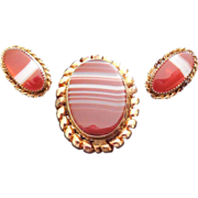 Signed Winard Gold Filled And Striped Agate Pendant Brooch and Earring Set