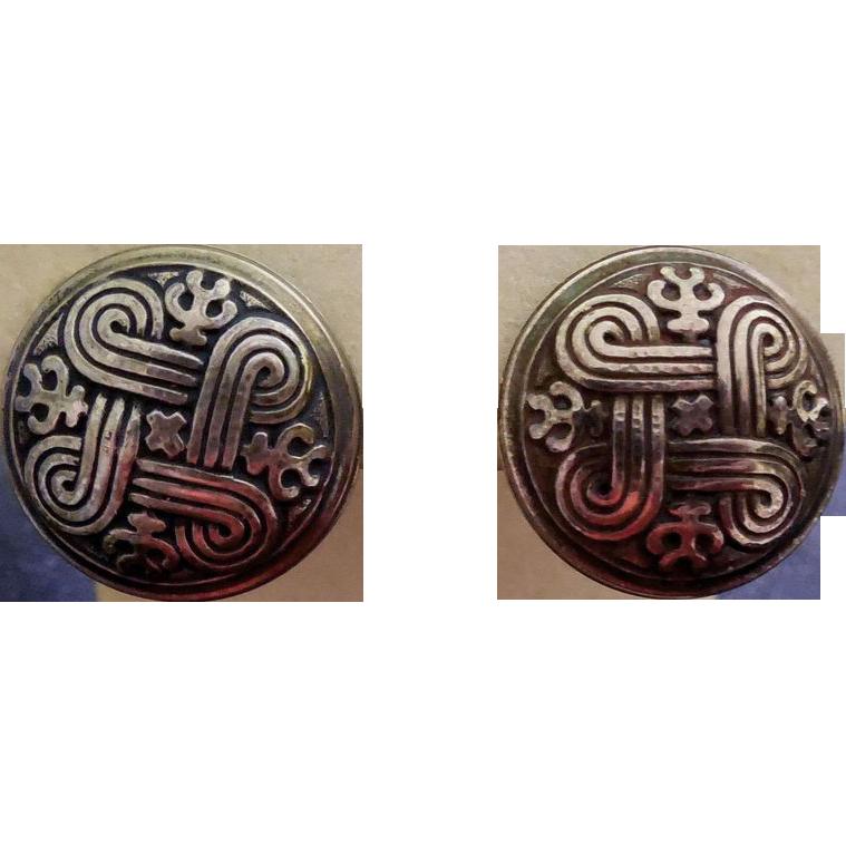 Sterling Silver Kalevala Koru Earrings - Saint John's Arms Design - Protection From Evil