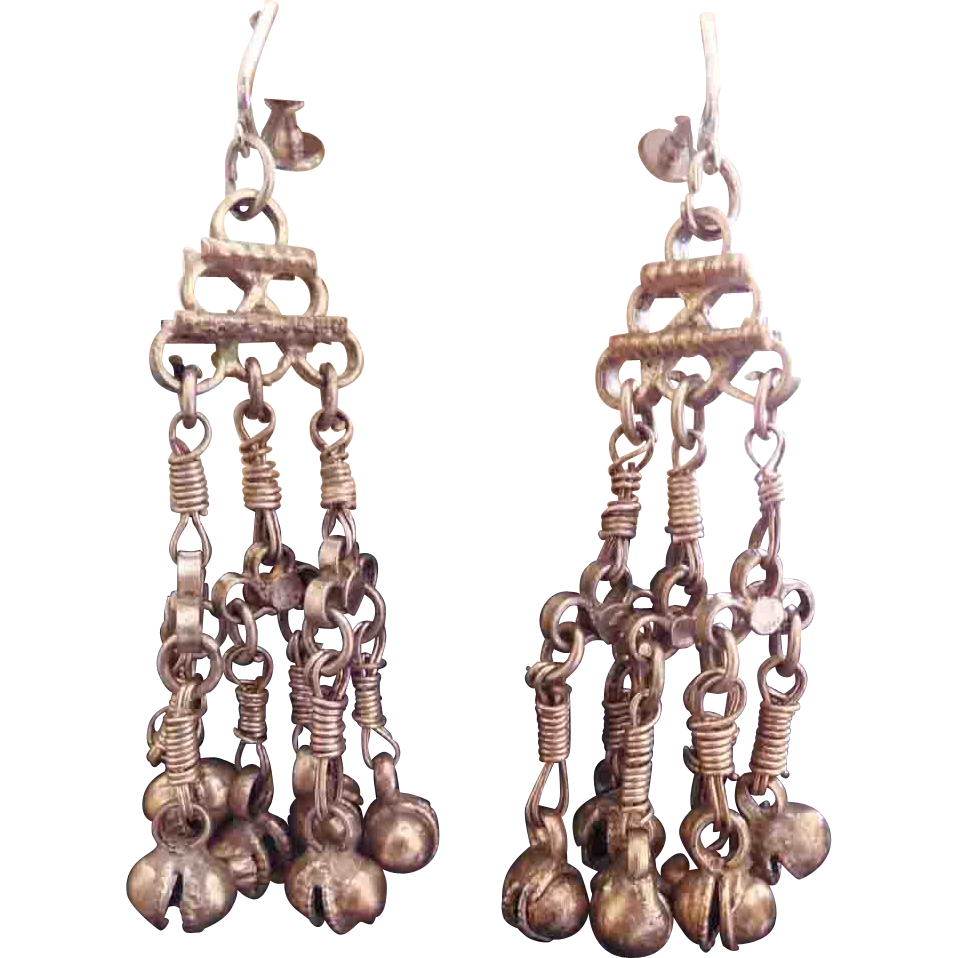 Long Vintage Hippie Earrings 1970s India Ghungroo Bells