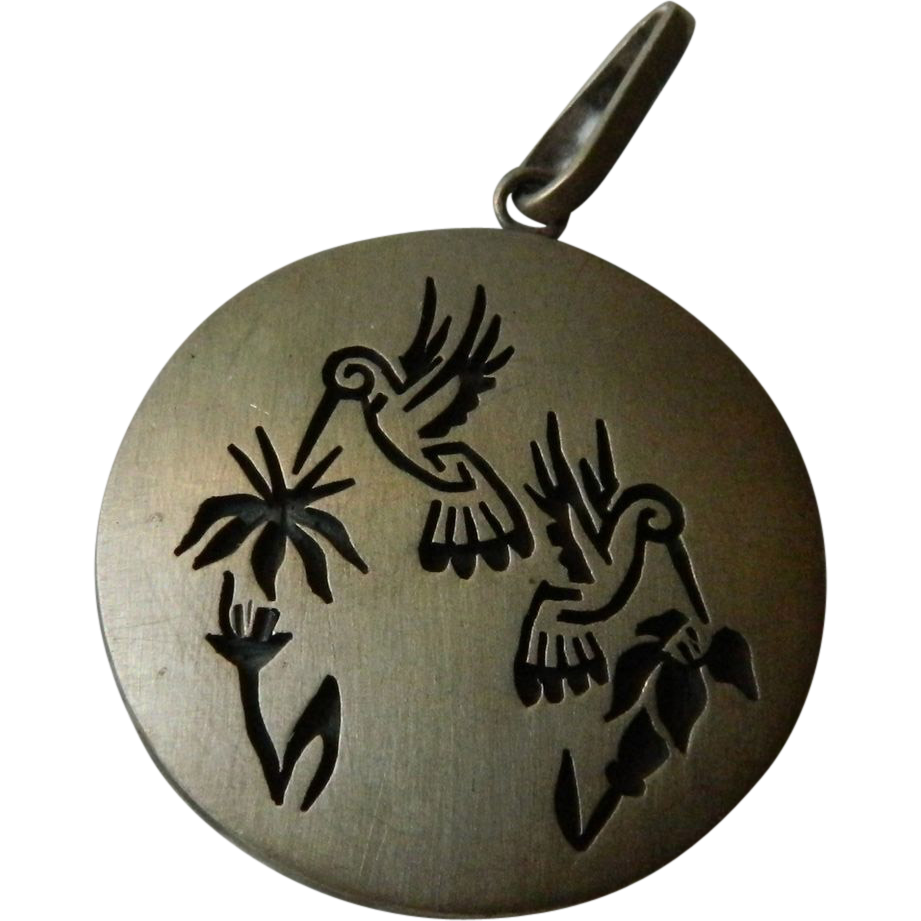 Signed Jason Takala Hummingbird Pendant - Hopi Native American