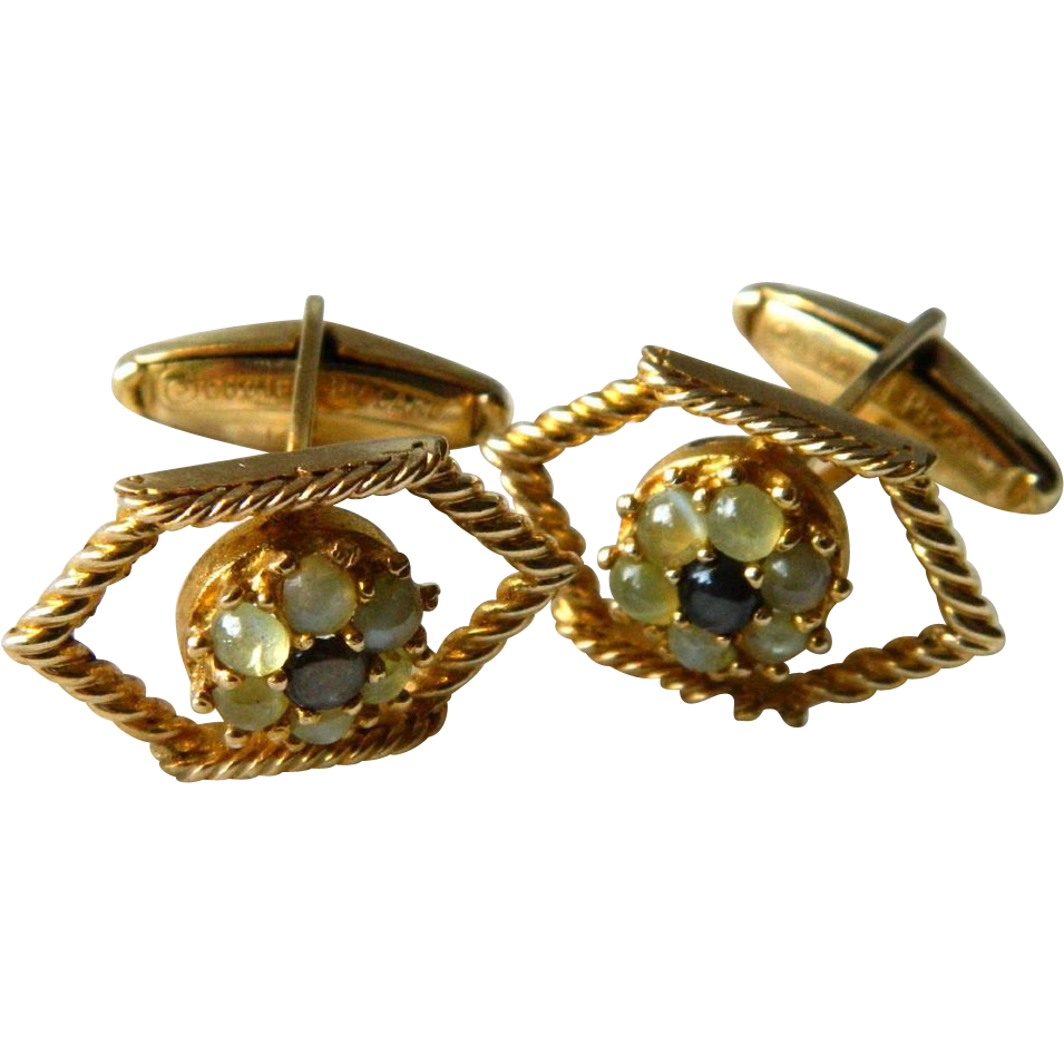 14K Gold & Gemstone Cufflinks Signed Lucien Piccard