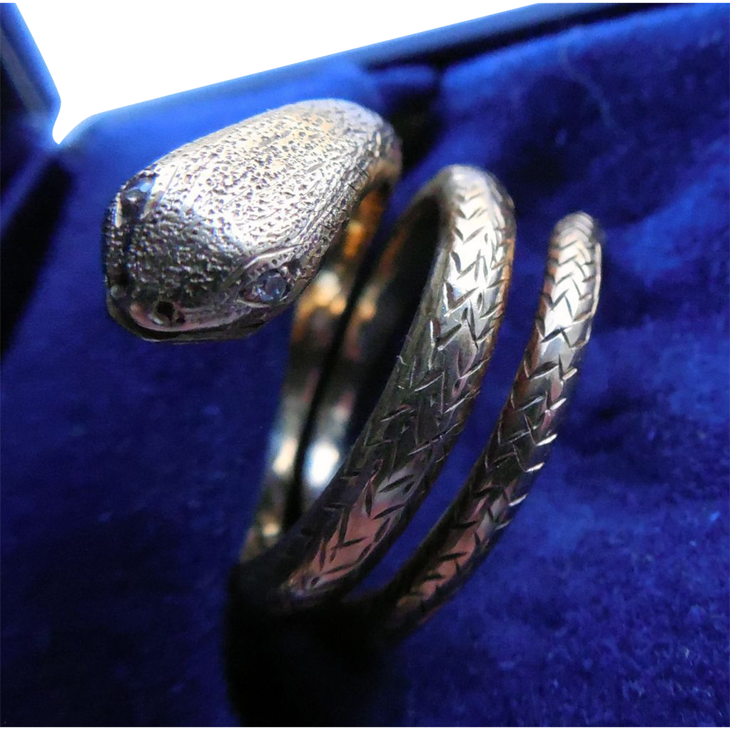 Victorian Era Snake Ring 18K With Diamond Eyes And Lots Of Detail