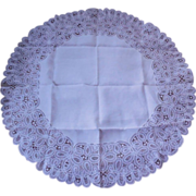 "Belgium Battenberg Lace 31"" Round Table Topper"