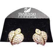 Swarovski Swan Signed Heart Shaped Crystal Earrings On Original Card