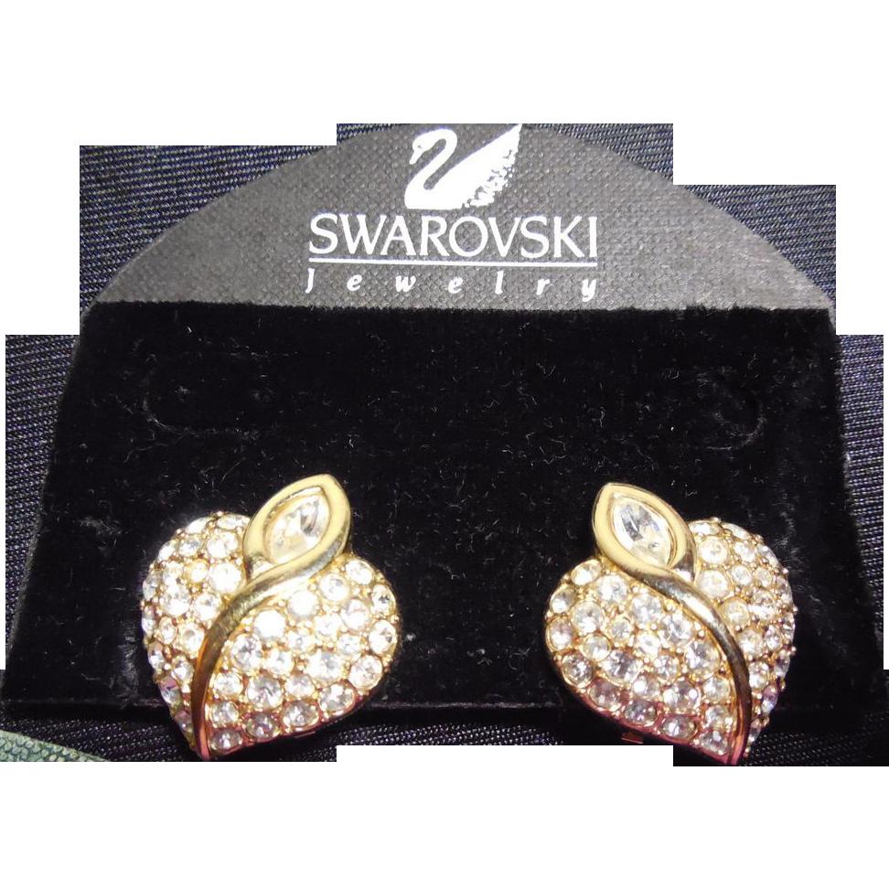 Swarovski Swan Signed Heart Shaped Crystal Earrings On Original Card
