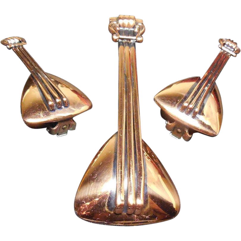 Mid Century Renoir Copper Jewelry Set - Balalaika - Book Piece