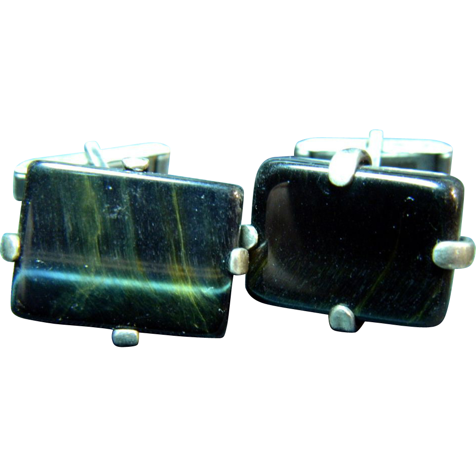 Mid Century Modern Sterling and Black Stone Rectangular Cufflinks
