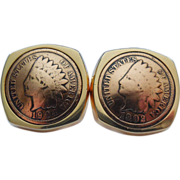 Fabulous Indian Head Penny Coin Cufflinks - 1902 & 1904