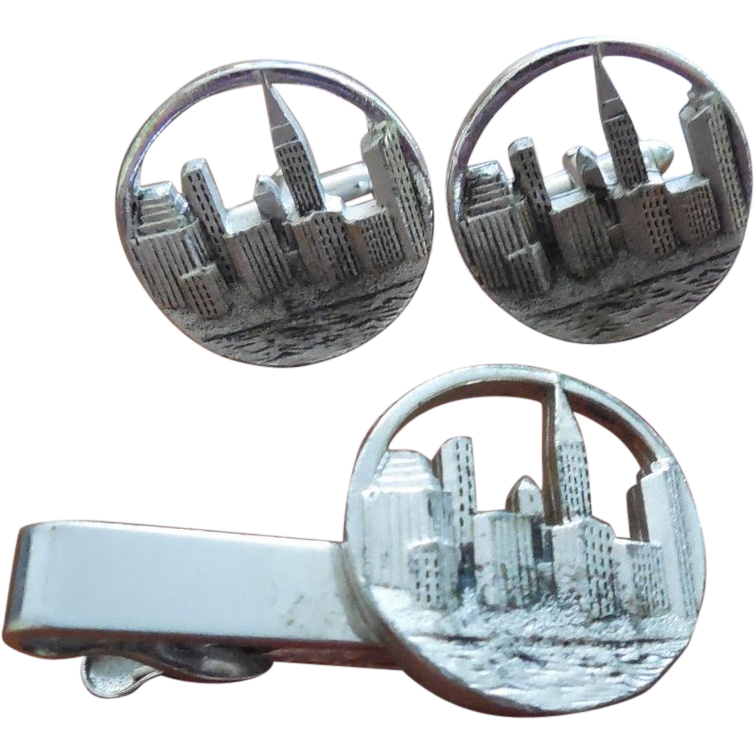 Wall Street Skyline Cufflinks and Tie Bar Vintage Set Signed Swank