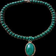 Beautiful Green Malachite Bead & Pendant Necklace - 14k GF Clasp