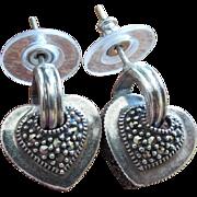 Signed Judith Jack Sterling Silver & Marcasite Heart Earrings