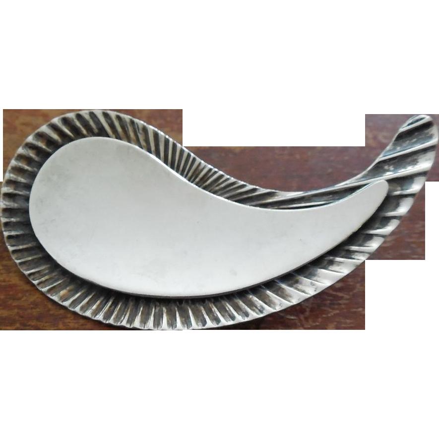 Modernist Sterling Silver Scandinavian Paisley Shape Brooch - Herman Siersbol Denmark