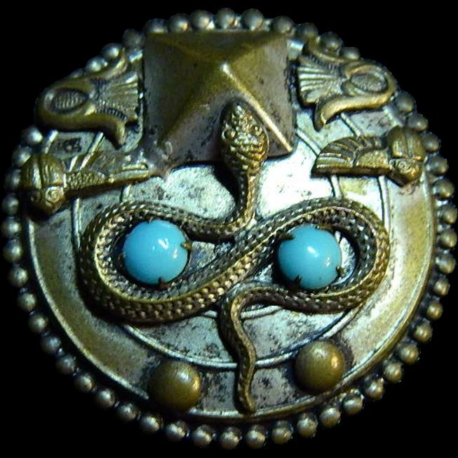 Egyptian Revival Symbols Brooch - Pyramid Snake Scarab