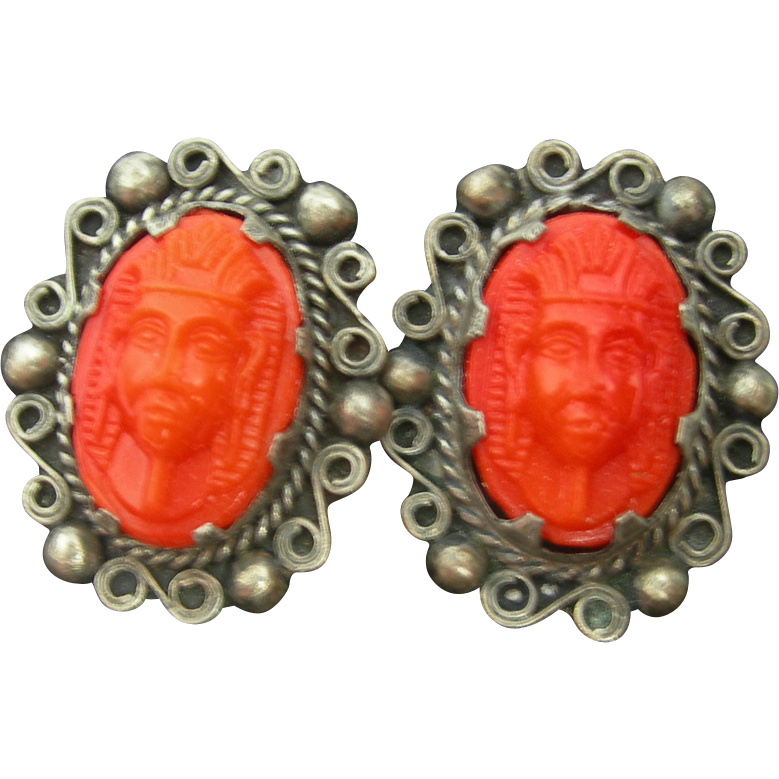 Orange Celluloid Pharoah King Tut Sarcophagus Earrings