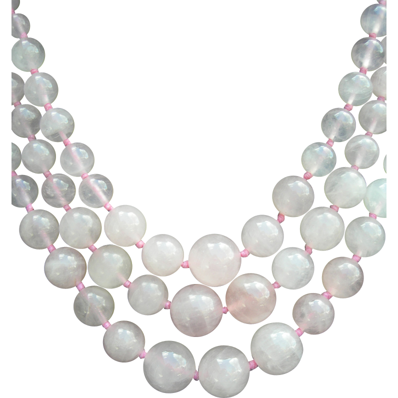Triple Strand Rose Quartz Pink Necklace - Stone of Love