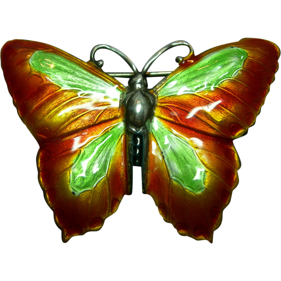 Sterling Silver and Enamel Orange and Green Butterfly