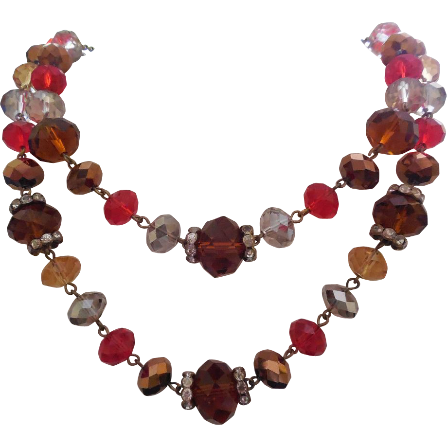 Pretty Red White Amber Copper Glass Bead Necklace - Trifari Hangtag