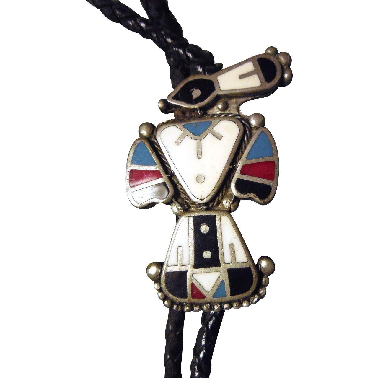 Vintage Zuni Magpie Native American Bolo Tie - Red White Blue Black Enamel