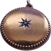 Antique Victorian 10K Gold Diamond Locket Star Center & Beaded Border - 4 Grams