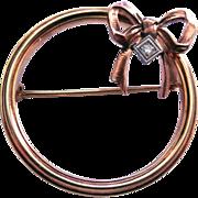 Art Deco 10K Gold Diamond Brooch Signed Diana (Krementz)