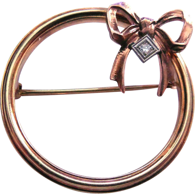 Rare Signed Diana Art Deco 10K Gold Diamond Brooch (Krementz)